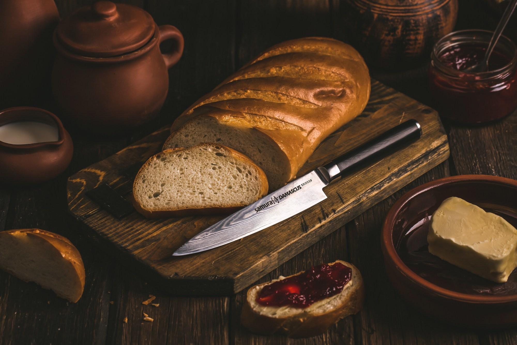 Фото 9 - Нож кухонный универсальный Samura Damascus SD-0023/Y, сталь VG-10/дамаск, рукоять G-10