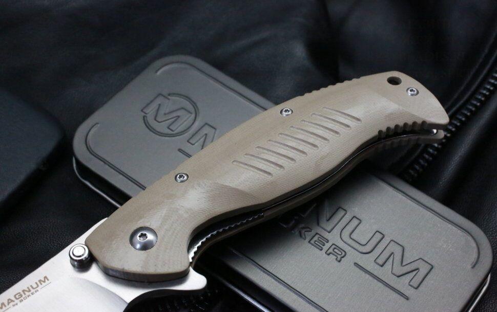 Фото 10 - Нож складной Magnum Delta Whiskey - Boker 01MB703, сталь 440B Satin Plain, рукоять стеклотекстолит G10, бежевый