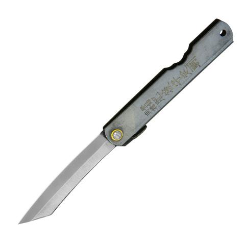 Нож складной Higonokami Reverse Tanto, сталь AoGami, рукоять нержавеющая сталь, серый. Вид 1