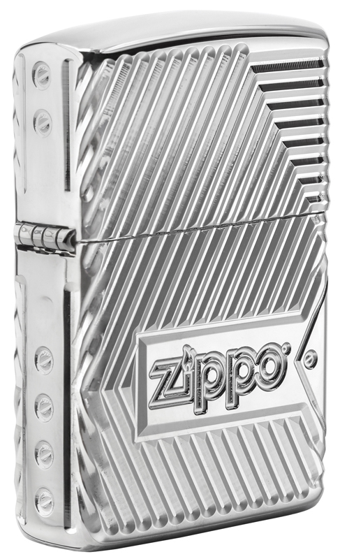 Зажигалка ZIPPO Armor® с покрытием High Polish Chrome, латунь/сталь, серебристая, 36x12x56 мм зажигалка zippo classic орел с покрытием high polish chrome латунь сталь серебристая 36x12x56 мм