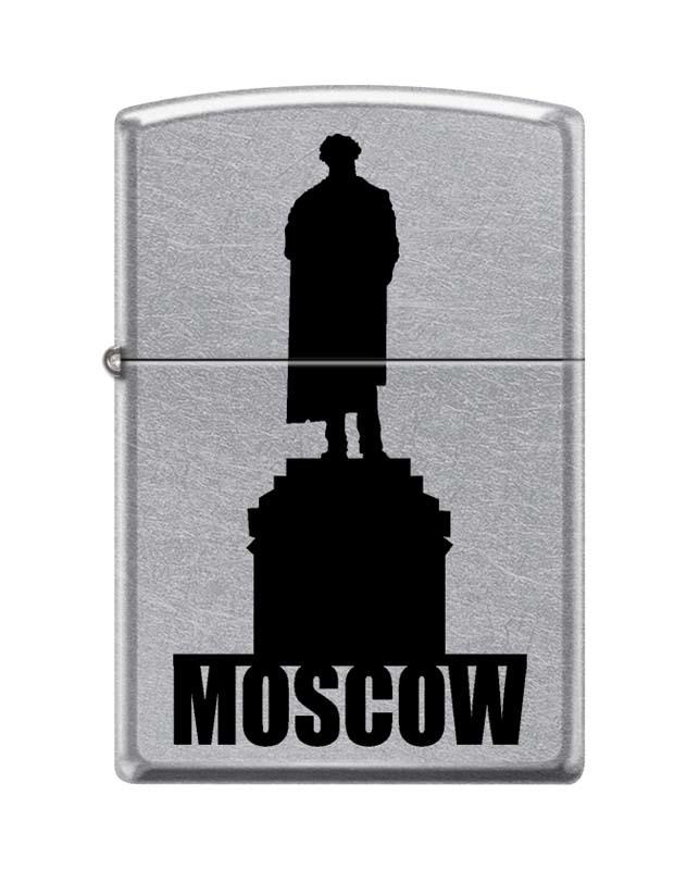 цена на Зажигалка ZIPPO Памятник Пушкину, латунь/сталь с покрытием Street Chrome™, серебристая, 36x12x56 мм