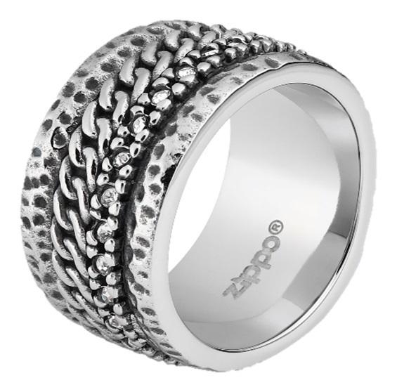 Кольцо ZIPPO, серебристое, с цепочным орнаментом, нержавеющая сталь, 1,2x0,25 см, диаметр 19,7 мм