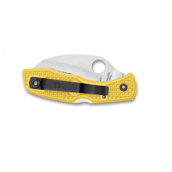 Фото 4 - Нож складной Tasman Salt™ Spyderco 106PYL, сталь H1 Satin Plain, рукоять термопластик FRN, жёлтый