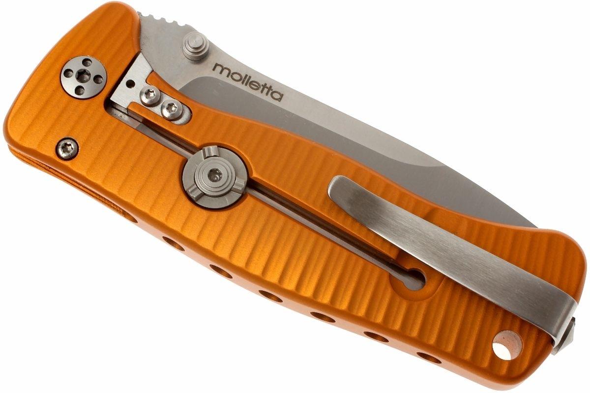 Фото 10 - Нож складной LionSteel SR2A OS Mini, сталь Uddeholm Sleipner® Satin Finish, рукоять алюминий (Solid®), оранжевый от Lion Steel