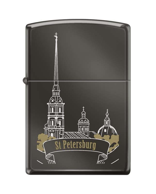 Зажигалка ZIPPO Петропавловская крепость, с покрытием Black Ice®