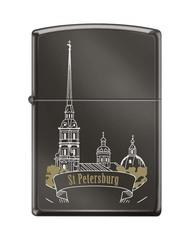 Зажигалка ZIPPO Петропавловская крепость, с покрытием Black Ice®, латунь/сталь, чёрная, 36x12x56 мм
