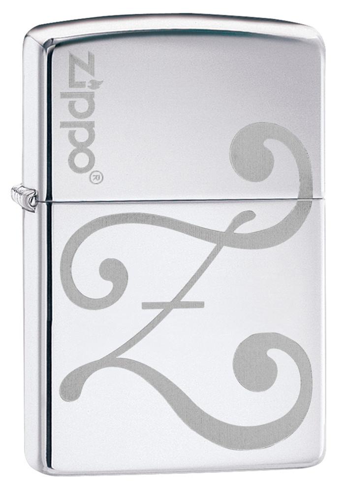 Зажигалка ZIPPO Logo Z с покрытием High Polish Chrome, латунь/сталь, серебристая, глянцевая, 36x12x56 мм
