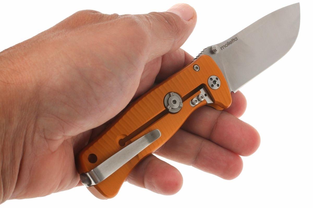 Фото 6 - Нож складной LionSteel SR2A OS Mini, сталь Uddeholm Sleipner® Satin Finish, рукоять алюминий (Solid®), оранжевый от Lion Steel