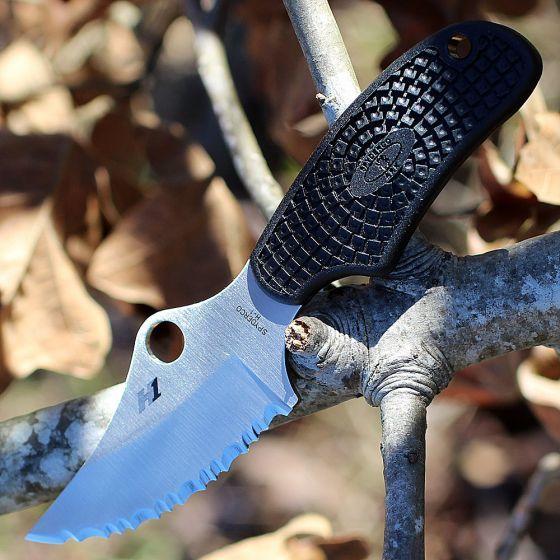 Фото 12 - Нож с фиксированным клинком ARK (Always Ready Knife) Spyderco FB35SBK, сталь H1 Satin Serrated (SpyderEdge™), рукоять термопластик FRN, чёрный