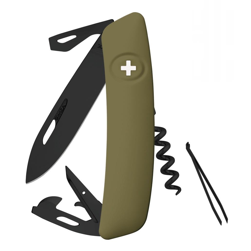 Швейцарский нож SWIZA D03 AllBlack, 95 мм, 11 функций, темно-зеленый