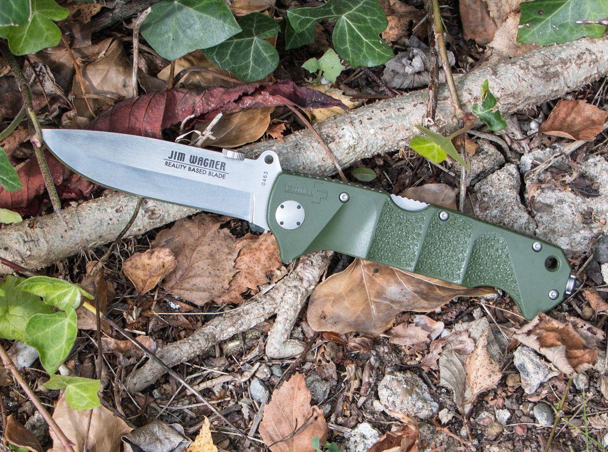 Фото 8 - Нож складной RBB (Reality-Based Blades) Bushcraft, Jim Wagner Design, Boker 01BO063, сталь 440C Satin, рукоять Zytel® (пластик), зелёный