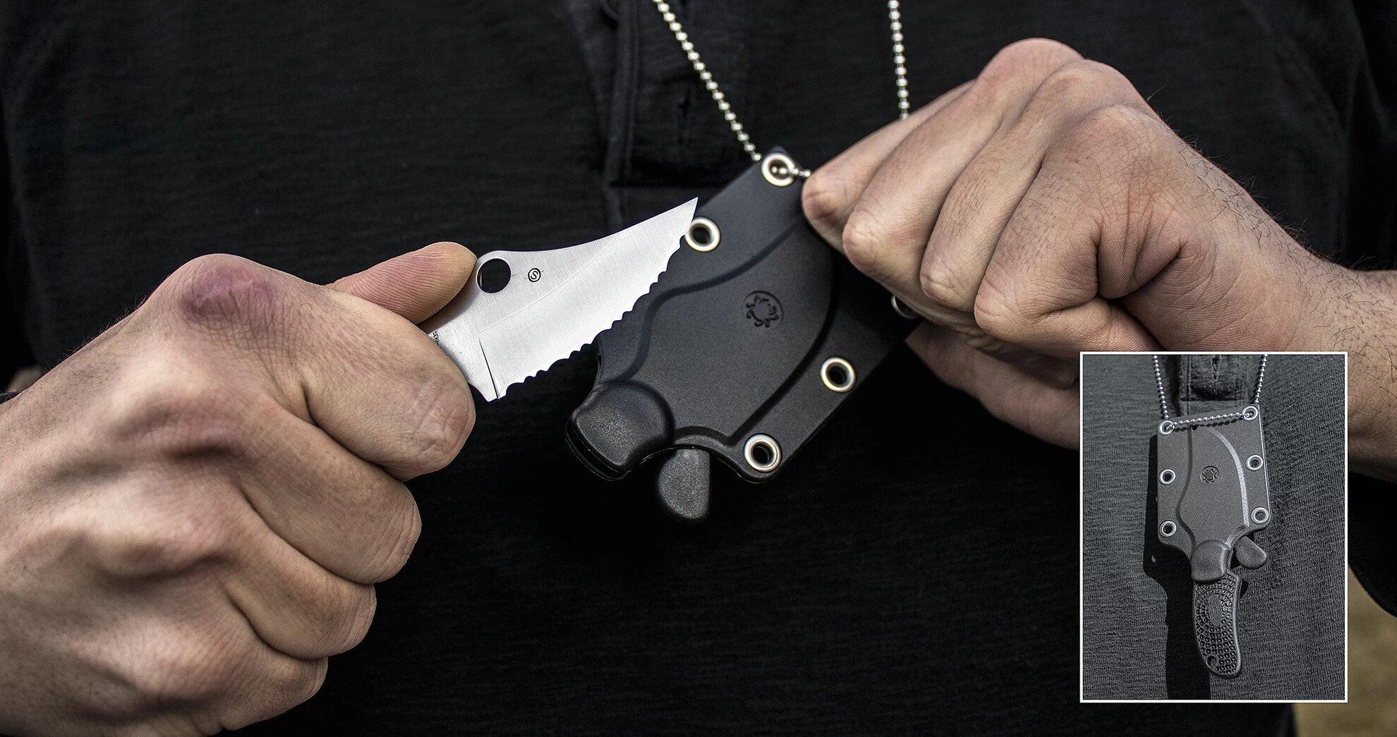 Фото 9 - Нож с фиксированным клинком ARK (Always Ready Knife) Spyderco FB35SBK, сталь H1 Satin Serrated (SpyderEdge™), рукоять термопластик FRN, чёрный
