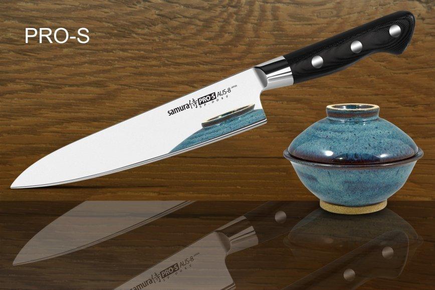 Фото 4 - Нож кухонный Samura PRO-S Шеф - SP-0085, сталь AUS-8, рукоять G10, 200 мм