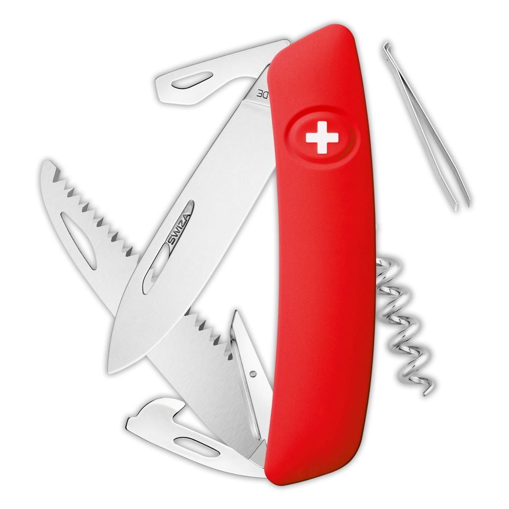 Швейцарский нож SWIZA D05 Standard, 95 мм, 12 функций, красный
