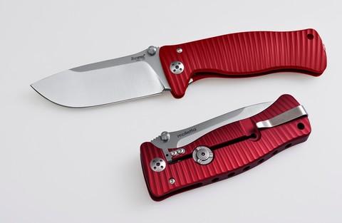 Нож складной SR-1, Solid® Red Anodized Aluminum Handle, Satin Finish D2 Tool Steel - Nozhikov.ru