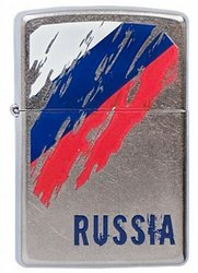 Зажигалка ZIPPO Russia Flag Satin Chrome, латунь с ник.-хром. покрыт., серебр., матовая, 36х56х12 мм