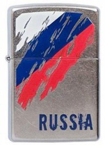 Зажигалка ZIPPO Russia Flag Satin Chrome, латунь с ник.-хром. покрыт., серебр., матовая, 36х56х12 мм. Вид 1