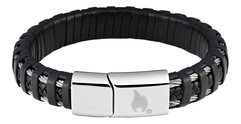 Фото - Браслет ZIPPO, чёрный, нержавеющая сталь/натуральная плетёная кожа, 22x1,40x0,80 см