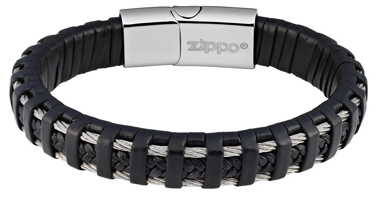 Фото 2 - Браслет ZIPPO, чёрный, нержавеющая сталь/натуральная плетёная кожа, 22x1,40x0,80 см