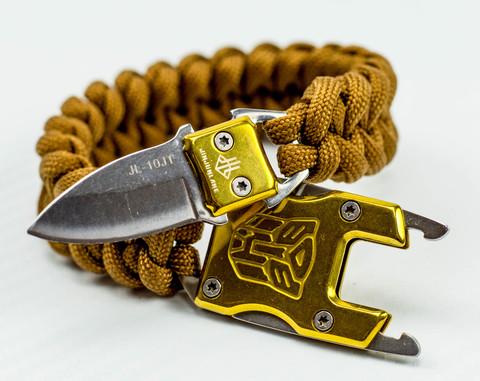 Браслет из паракорда с ножом, золотой. Вид 1