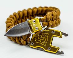 Браслет из паракорда с ножом, золотой