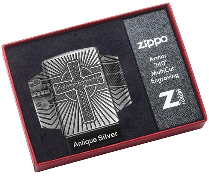 Зажигалка ZIPPO Armor® с покрытием Antique Silver, латунь/сталь, серебристая, матовая, 36x12x56 мм