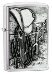 Зажигалка ZIPPO Classic Ковбой с покрытием Brushed Chrome