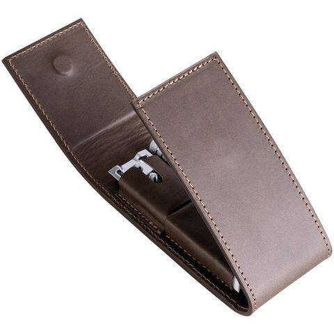 Набор бритвенный дорожный Dovo, 2 предмета, кожаный футляр, коричневый. Вид 5