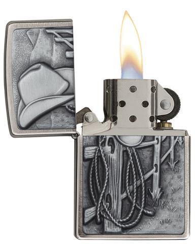 Зажигалка ZIPPO Classic Ковбой с покрытием Brushed Chrome. Вид 2