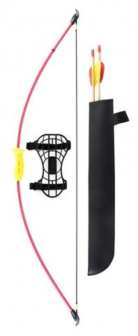 Лук детский классический красный 4,5кг, 93см (колчан, 2 стрелы, крага, мишень). Вид 1