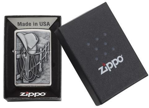 Зажигалка ZIPPO Classic Ковбой с покрытием Brushed Chrome. Вид 3