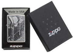 Зажигалка ZIPPO Classic Ковбой с покрытием Brushed Chrome, фото 3