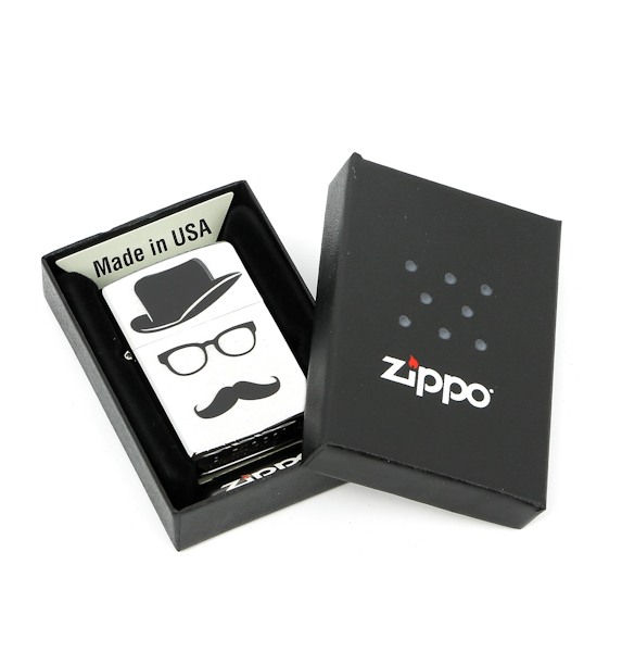 Фото 4 - Зажигалка ZIPPO Moustache & Hat, латунь с покрытием Brushed Chrome, серебристый, 36х12x56 см