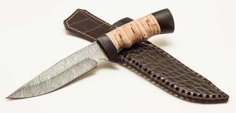 Нож Легионер, сталь дамаск, рукоять береста/граб. Вид 2