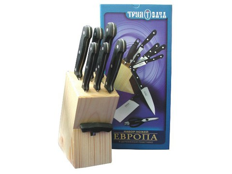 """Набор ножей """"Европа"""" 7 предметов, в деревянной подставке со штопором - Nozhikov.ru"""