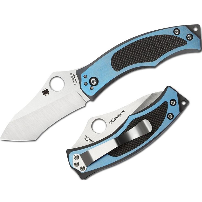 Фото 5 - Нож складной Vrango Spyderco 201TIBLP, сталь CPM® S30V Satin Plain, рукоять титан/карбон, синий