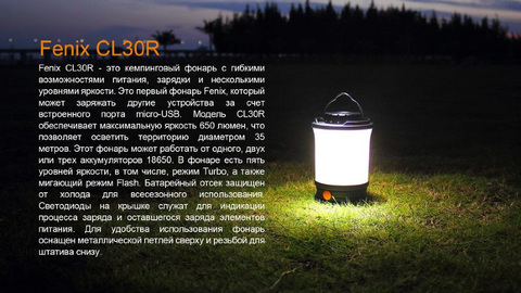 Фонарь Fenix CL30R, черный
