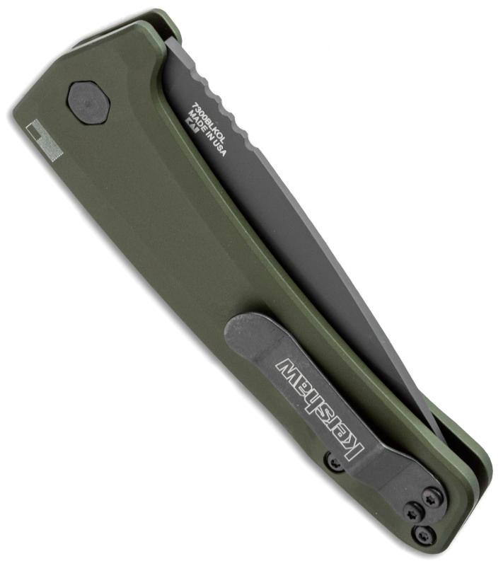Фото 7 - Полуавтоматический складной нож Launch 3 - Kershaw 7300BLKOL Olive, сталь Crucible CPM® 154, рукоять анодированный алюминий, зеленый