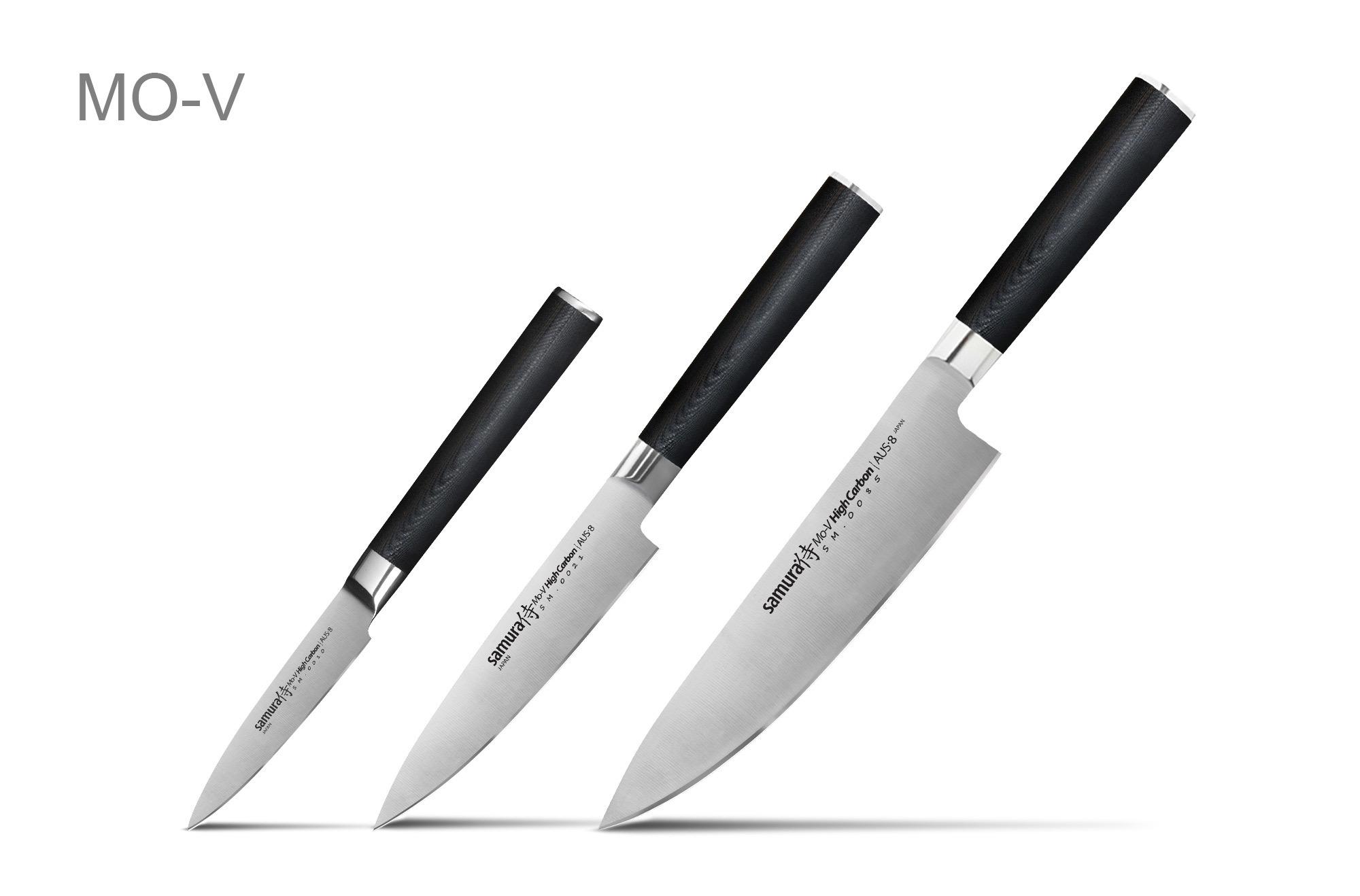 Фото 3 - Набор из 3 кухонных ножей Samura MoV в подарочной коробке -