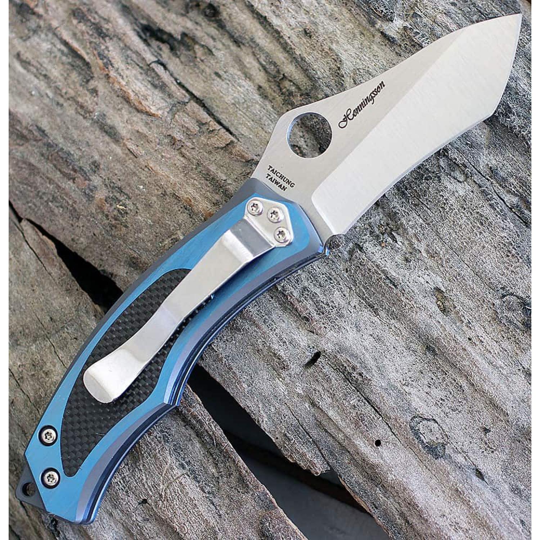 Фото 7 - Нож складной Vrango Spyderco 201TIBLP, сталь CPM® S30V Satin Plain, рукоять титан/карбон, синий