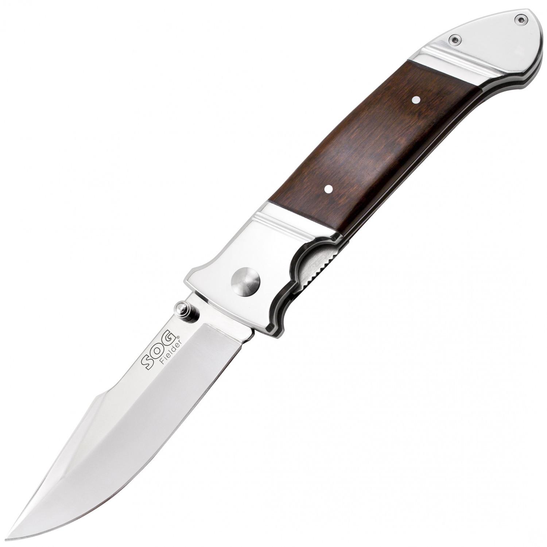 Купить Складной нож Fielder XL - SOG FF34 - 10,4 см, сталь 7Cr13, рукоять дерево/сталь в России