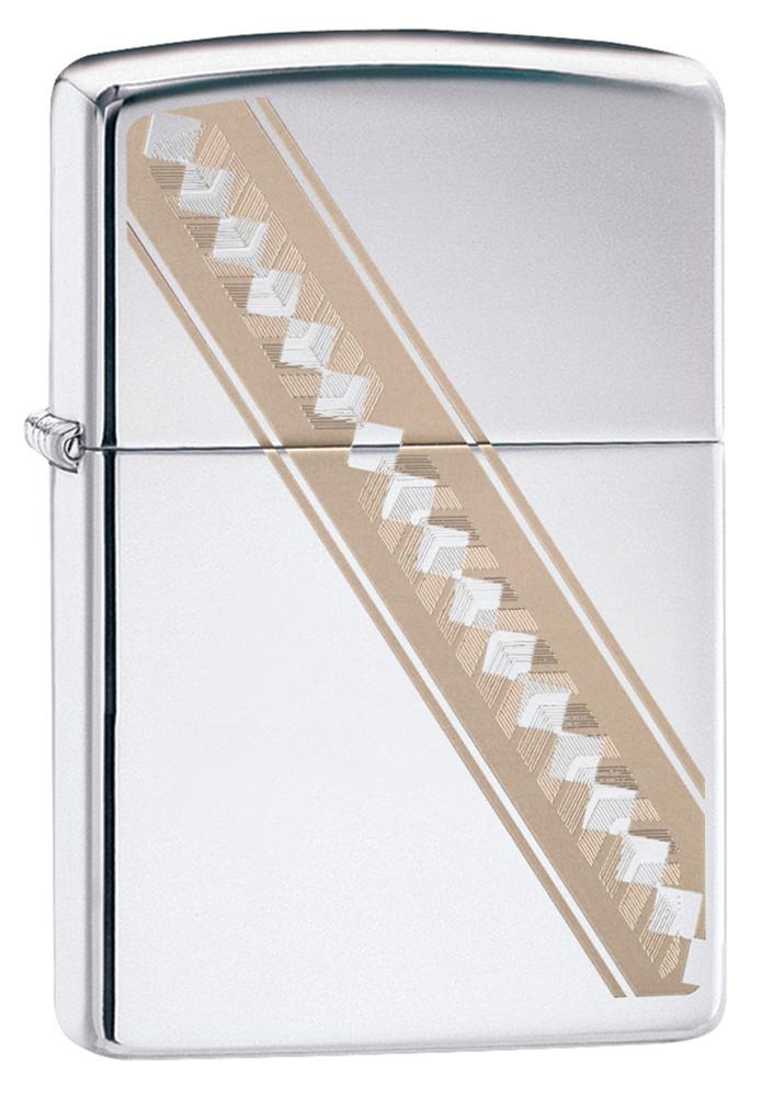 Зажигалка ZIPPO Ribbon Diamonds с покрытием High Polish Chrome, латунь/сталь, серебристая, глянцевая, 36x12x56 мм