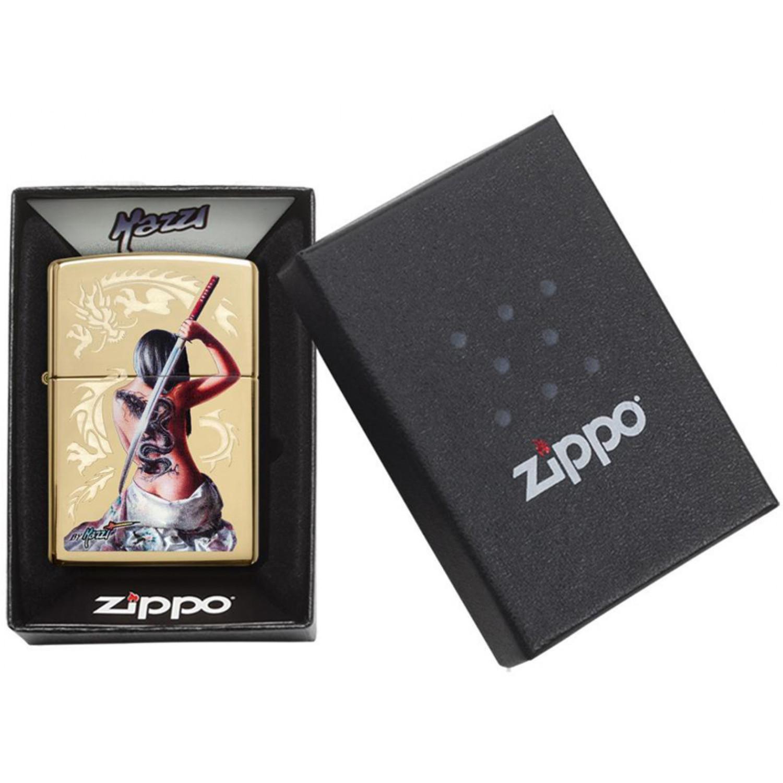 Зажигалка ZIPPO Mazzi® с покрытием High Polish Brass, латунь/сталь, золотистая, 36x12x56 мм