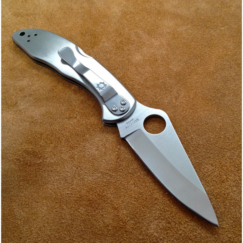 Фото 7 - Складной нож Delica 4 - Spyderco C11P, сталь VG-10 Satin Plain, рукоять нержавеющая сталь