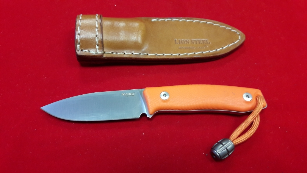 Фото 5 - Нож с фиксированным клинком M1, Satin Finish M390 Steel, Orange G-10 Handle от Lion Steel
