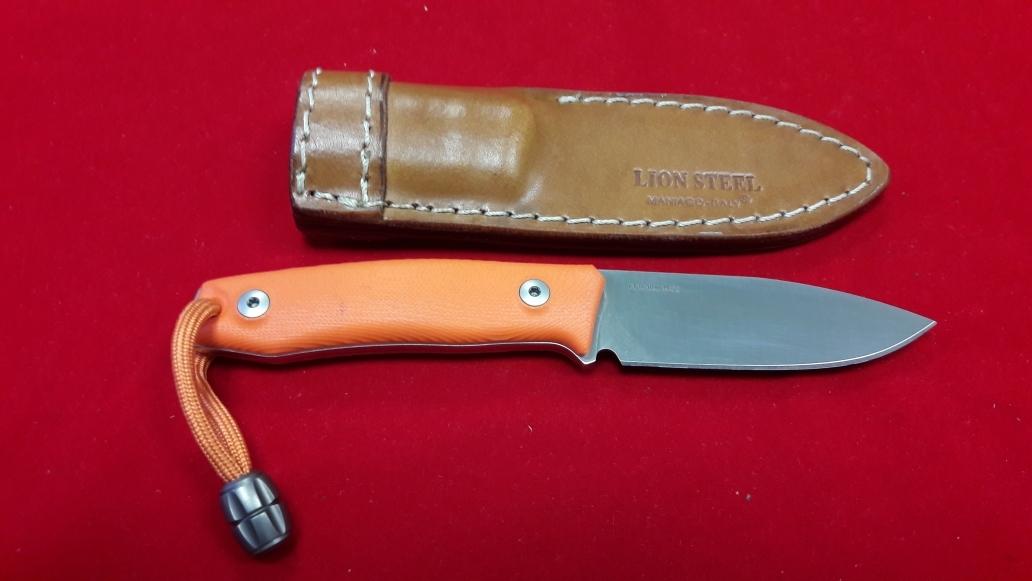 Фото 7 - Нож с фиксированным клинком M1, Satin Finish M390 Steel, Orange G-10 Handle от Lion Steel