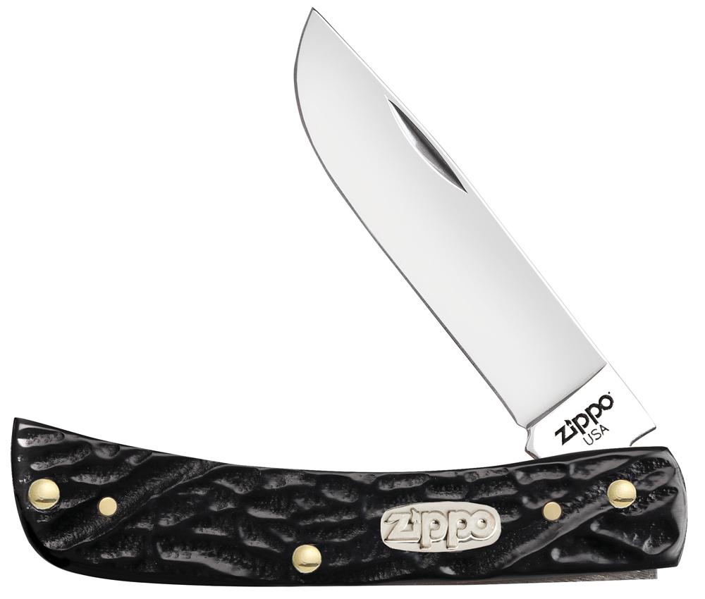 Нож перочинный ZIPPO Rough Black Synthetic Sodbuster Jr, 92 мм, чёрный + ЗАЖИГАЛКА 207