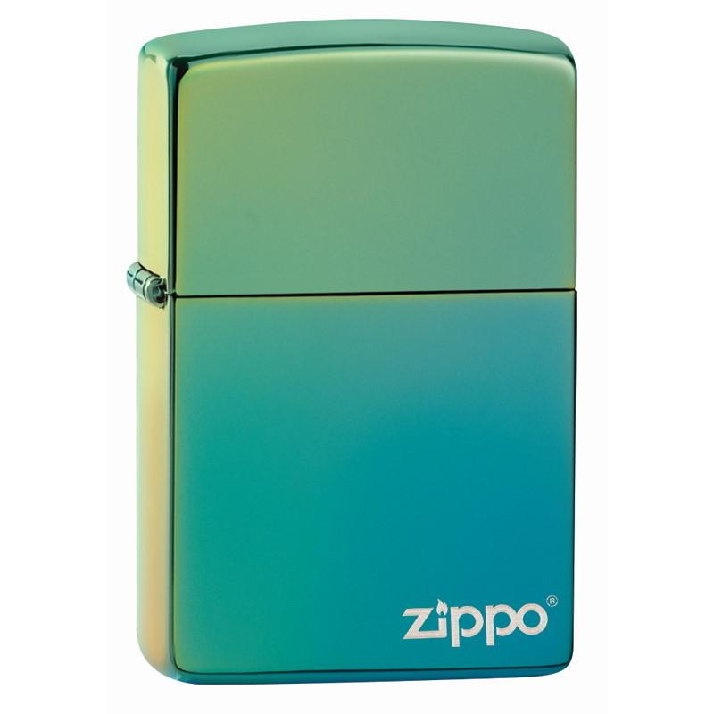 Зажигалка ZIPPO Logo Classic с покрытием High Polish Teal, латунь/сталь, зелёная, глянцевая, 36x12x56 мм