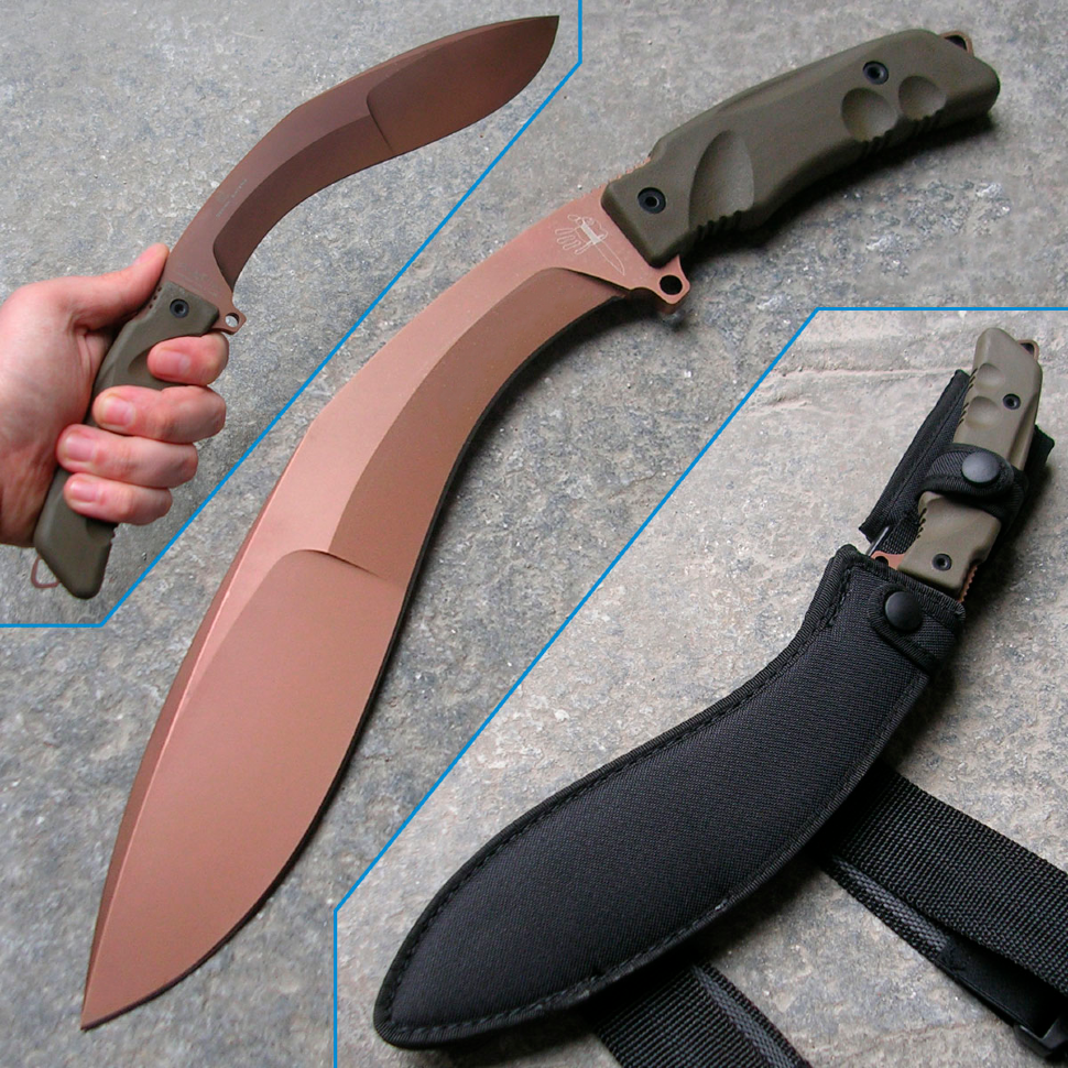 Фото 11 - Мачете Fox Extreme Tactical Kukri, сталь N690, рукоять Forprene, зеленый