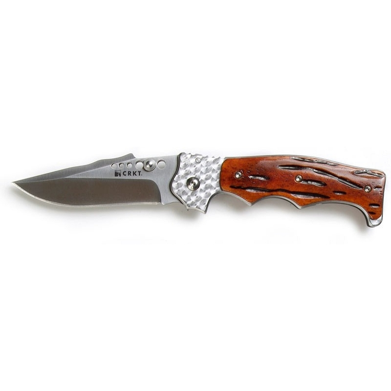 Фото 11 - Полуавтоматический складной нож Natural 2 Jig Bone, CRKT 7080J, сталь 8Cr13MOV, рукоять кость, коричневый